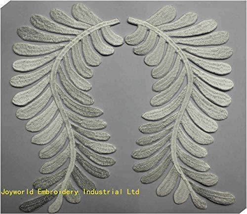 AiCheaX Spitzen basteln - 5 Paar Gold Bestickt applizierte Spiegel Paar Blumen Gold und Silber Eisen auf farbigen Flecken 20,5-8,0 cm - (Farbe: weiß) -
