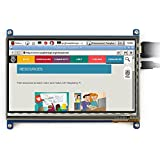 Makibes 7 Pulgadas Raspberry Pi Pantalla Táctil 800×480 Capacitivo TFT LCD (B) HDMI Interfaz para Raspberry Pi/BB BLACK/PC,Banana Pi PC y Sistema de Windows 10 / 8.1 / 8/7 y OS con Marco Bicolor
