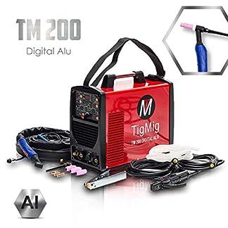 TIGMIG Soldador Inverter TIG TM 200 DIGITAL ALU TIG Maquina de Soldar AC DC Unidad de Soldadura con 200 amperios totalmente digital con encendido HF, Función de pulso, MMA, IGBT