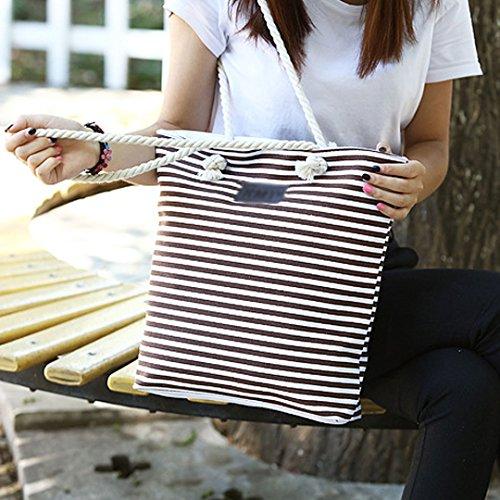 Millya - Borsa a secchiello in tela, da donna, con cerniera, ideale per l'estate, Red (rosso) - djb-00091-03 Brown