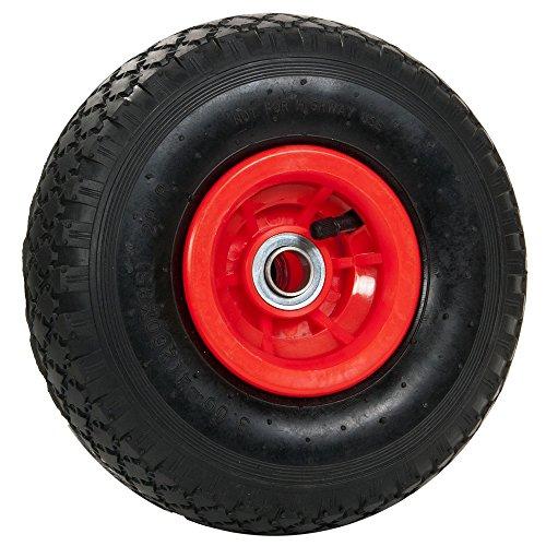 pro-bau-tec 2 Stück Sackkarrenrad mit Kugellager und Monatgematerial, rot, 10113 (Achse Fahrrad Reifen)