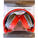 SH-12 Wireless/ Bluetooth Headphone With FM And SD Card Slot With Music And Calling Controls (Red / Grey / Black) Color May Vary