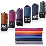 BOGI Microfibra Sport e Viaggi Towel- 50cmx100cm- Asciugatura Rapida, Leggero, Assorbente, Morbido – Perfetto per Yoga Fitness da Spiaggia Campeggio + Borsa da Viaggio e moschettone(M:Navy Blue)