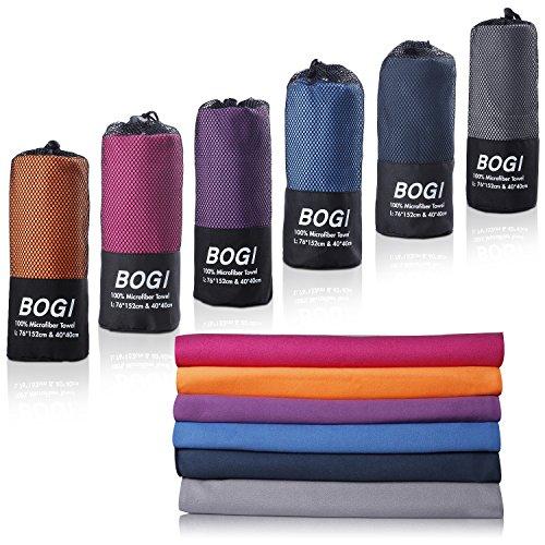 BOGI Mikrofaser Handtücher Sporthandtuch - 50cmx100cm - klein,leicht,weich,Ultra Saugfähig,schnelltrocknend,Antibakteriell - Perfekte für Travel Strand Yoga Fitness Bad Camping(M:Grau)