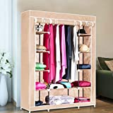 Inditradition 3 Door Collapsible Cloth Wardrobe | Foldable Closet Almirah & Cloth Organizer | 5.75 Feet Height (Beige/Cream Color)