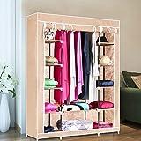 #5: Inditradition 3 Door Collapsible Cloth Wardrobe | Foldable Closet Almirah & Cloth Organizer | 5.75 Feet Height (Beige/Cream Color)