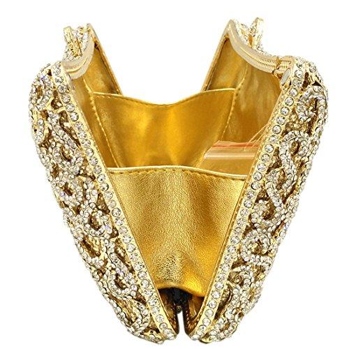 Tracolla Frizioni Donna Sera Pochette Borsetta Portafoglio Partito Cerimonia Borsa Sposa Eleganti Regalo Promenade Oro Gold