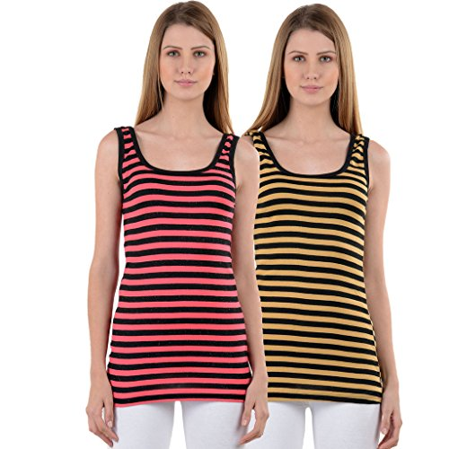 NumBrave Pink & Beige Tank Top for Women (Pack of 2)