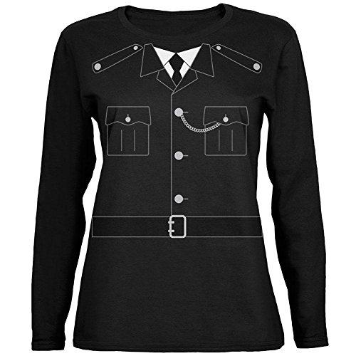 Halloween britische Bobby Kupfer Polizei Kostüm entspannte Trikot Langarm-Damenabschlag schwarz (Britische Bobby Kostüme)