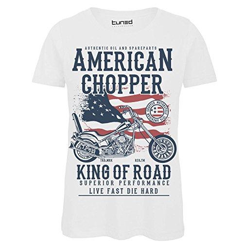 CHEMAGLIETTE! Shirt Divertente Donna Maglia con Stampa Vintage Moto King Of The Road Tuned Bianco