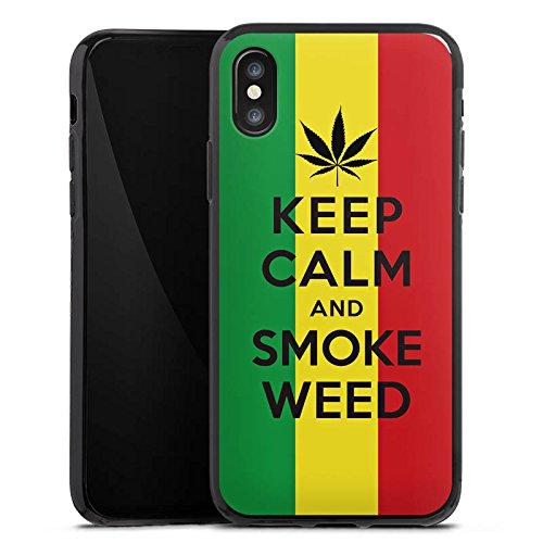 Apple iPhone X Silikon Hülle Case Schutzhülle Keep calm and smoke weed Sprüche Statement Silikon Case schwarz
