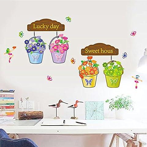 Le style de fleur en pot Autocollant mural de PVC à la maison papier peint en vinyle pour la décoration papier peint au salon, à la chambre et à la cuisine les photos d'art DIY à la salle de jeux pour des