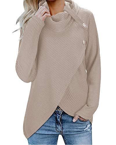 Inorin Damen Wickelshirt, Waffelmuster, Rollkragen, lockere Knöpfe, leicht - Khaki - Klein Soft Cowl Neck