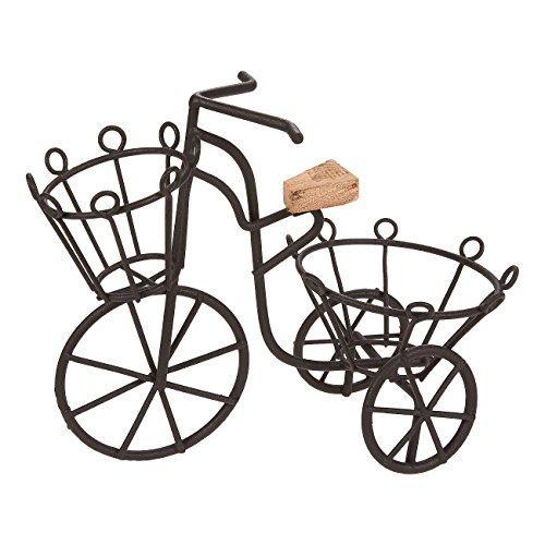 Miniatur Fahrrad-Pflanzenständer von Juvale - Deko-Fahrrad im Vintage-Stil als Halterung für 2 Topfpflanzen - Für Haus und Garten - Eisengestell - Schwarz-17,1cm x 15cm x 6,3cm