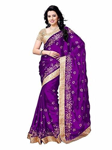 Shailaja Sarees Women's Satin Saree(SSS1121A_Purple_Free Size)