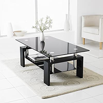 Neotechs® Black Modern Rectangle & Black Glass Chrome Living Room Coffee Table With Lower Shelf - inexpensive UK light store.