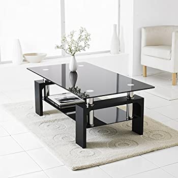 NeotechsR Black Modern Rectangle Glass Chrome Living Room Coffee Table With Lower Shelf
