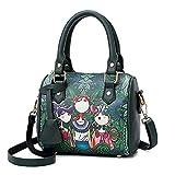 LMRYJQ Damen Elegant Rucksack Handtasche Mode Damen Handtasche Wald lässig Umhängetasche Headset Tasche Boston Tasche (Green)