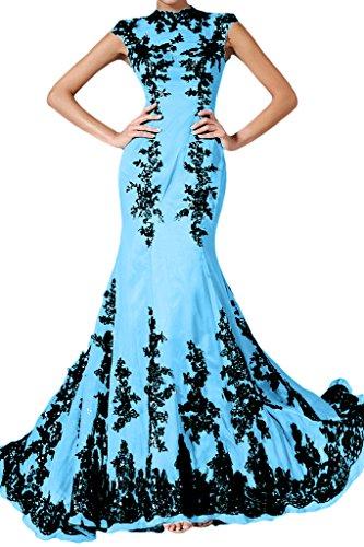 Applicazione punta, Ivydressing donna Elegant Mermaid Chiffon un'ampia vestito da sera lungo Blu