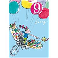 Greeting Card (WDM9147) - Birthday - 9 Today - Bike Flight - Quentin Blake