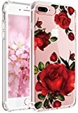 JIAXIUFEN iPhone 7 Plus Hülle, iPhone 8 Plus Hülle, TPU Silikon Schutz Handy Hülle Handytasche HandyHülle Etui Schale Schutzhülle Case Cover für Apple iPhone 7 Plus/iPhone 8 Plus - Love Red Rose