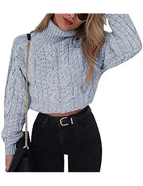 Crop Tops Mujer Otoño Invierno Elegantes Moda Pullover Cuello Alto Manga Larga Color Sólido Jerseys Ropa Sweater...