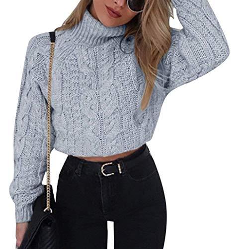 Crop Top Damen Herbst Winter Elegante Mode Pullover Rollkragenshirt Langarm Unifarben Locker Sweater Pullis Mädchen Kleidung Casual Bequeme Wollpullover Young Fashion Moderner Stil