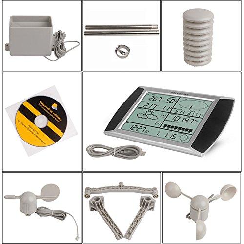 YAOBLUESEA Wetterstation Funkwetterstation Wetterstationen mit Funk Windmesser /Regenmesser /Temperatur mit Alarmen / Luftfeuchtigkeit ,Software Touchscreen - 7