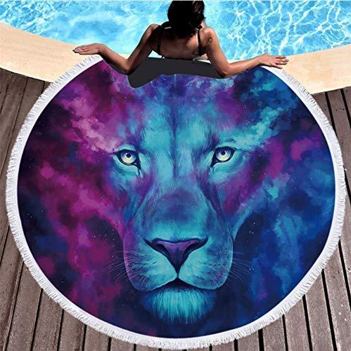 Runde Strandtuch Für Erwachsene Kinder Yoga Matte Mikrofaser Mit Quasten Sommer Tiger Tier Strandtuch 150x150cm Picknick Matte ()