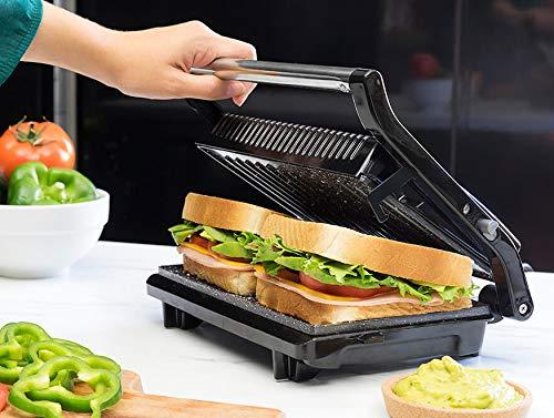 Rock'n grill 750! bistecchiera elettrica in pietra lavica senza pfoa con termostato regolabile bistecchiera griglia panini elettrico multiuso piastra tostiera da tavolo salvaspazio 03011