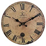 """16"""" Large Shabby Chic Wood Clock, Eruner Rustic French Paris Country *Cafe des Marguerites* Roman Numerals for Kitchen Livingroom Bedroom Decoration(16-inch, #09)"""
