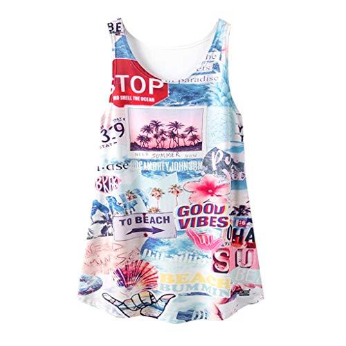 ps Weste ÄRmelloses Rundhals Blumen Lose Sommer Tunika Shirts Oberteil Bluse (D3-Blau,EU-36/CN-S) ()