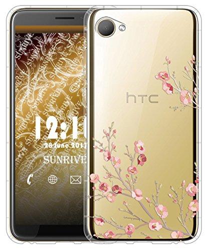 Sunrive Für HTC Desire 12 Hülle Silikon, Transparent Handyhülle Luftkissen Schutzhülle Etui Case für HTC Desire 12(TPU Blume)+Gratis Universal Eingabestift