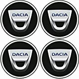 TEILE-24.EU Malinowski Radnabenkappen DACIA Embleme Felgen Aufkleber Logo Nabendeckel Nabenkappe Radkappe 4 x 56 mm .Farbe: schwarz/chrom/blau