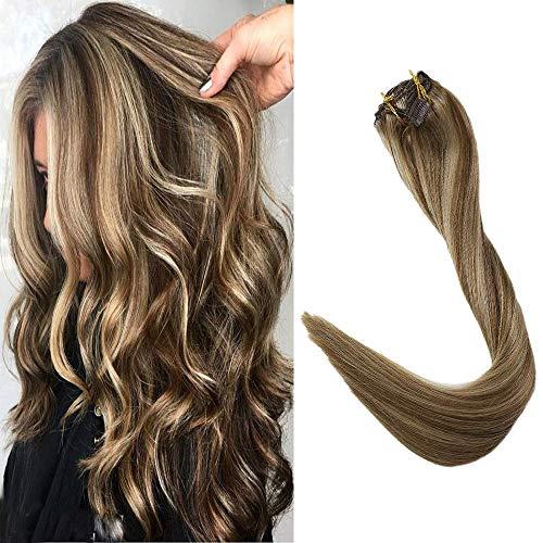 Full Shine 16 Zoll Clip auf Haar Highlight Farbe # 10 mit Goldener Blonder Farbe # 16 Clip Haar Remy Haarverlängerungen Doppelter Einschlagclip Ins 80g Pro Satz Echtes Menschliches Haar 7 Stück -