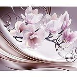 decomonkey Fototapete selbstklebend Blumen Abstrakt 245x175 cm XL Selbstklebende Tapeten Wand Fototapeten Tapete Wandtapete klebend Klebefolie Magnolie Orchidee 3d Effekt violett rosa