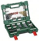 Bosch 91-delars V-Line Titanium-Set för borrning och skruvning, inkl. spärrskruvmejsel
