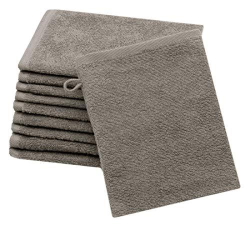 Hotel Waschlappen (ZOLLNER 10er Set Waschlappen Baumwolle, 16x21 cm, Taupe (weitere verfügbar))