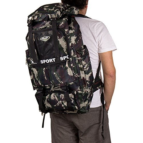 Zaino escursionismo grande da viaggio uomo trekking capiente leggero campeggio outdoor militare mimetico 40 litri con zip tasche in similtessuto mimetico h66xl34xp18