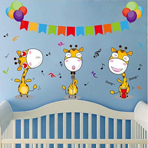 DIY Cartoon Tier Giraffe Musik Notes Ballon Kinder Kinder Schlafzimmer Aufkleber Kindergarten Dekoration Kunst ()