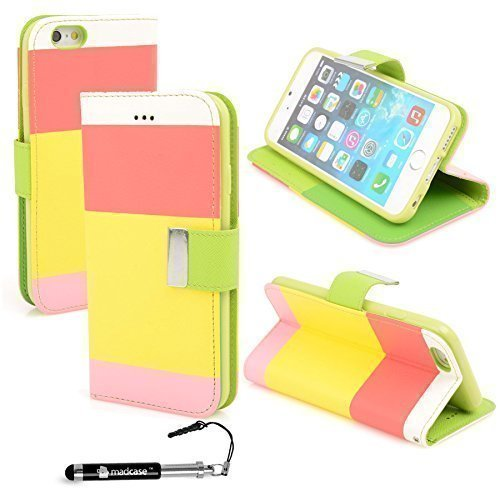 Apple iPhone 6 - Various Designs Premium Quality Leather / Hardcase / Gel / Silicone / Durable / Transparent / Clear / Wallet / Credit Card Holder Flip Case Bumper Stand Cover includes a Stylus Touch  Multi - Rose/Jaune/rose
