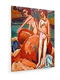 Ernst Ludwig Kirchner, Badende am Meer - 60x80 cm - Textil-Leinwandbild auf Keilrahmen - Wand-Bild - Kunst, Gemälde, Foto, Bild auf Leinwand - Alte Meister/Museum
