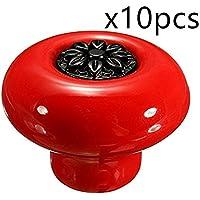 Creatwls Maneja / Tirador Para Muebles De Gabinete Alacena Tocador, Decoración Del Hogar Pomos - 10pcs, Rojo + Negro