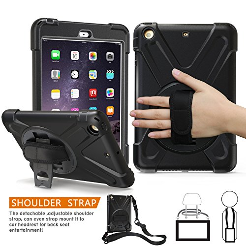 Generation Mini 1. Ipad Fällen (iPad Mini 1., 2., 3. Generation Fall, braecn dreilagiger Heavy Duty Soft Hard Silikon Bumper Case mit 360 Grad Drehgelenk Ständer/A Handschlaufe und einen Schultergurt für iPad Mini 1 2 3 Fall (Black))