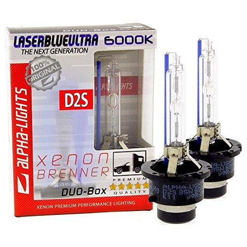 Preisvergleich Produktbild ALPHA-Lights LASER BLUE ULTRA D2S 6000K Xenon Brenner 35W - 2 Lampen DUO-Set