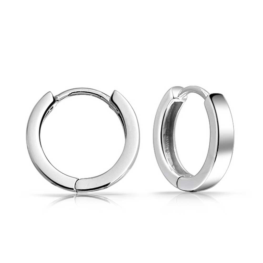 Basic Simple Thin Huggie Hoop Kpop Earrings For Women For Men 14K Gold Plated 925 Sterling Silver Polished Flat Hinge