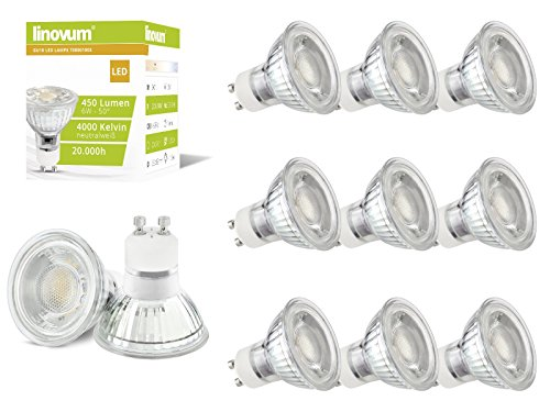 10 Stück linovum 6W GU10 LED Lampen für 230V, ersetzt 50W Halogen, neutral-weiß 4000K, LED-Leuchtmittel mit 50° Abstrahlwinkel, 450 Lumen Qualitäts LED-Leuchte
