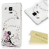 Mavis's Diary Funda Samsung Galaxy Note 4 (Hada de la mariposa) - 3D Bling Diamantes Funda Duro Protección Transparent PC Case Cover Funda Cáscara