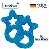 Dentistar® Beißring im 2er-Set - Stern - Zahnungshilfe für Babys ab 3 Monate - Kühlbeißring Baby aus TPE - Made in Germany – Blau