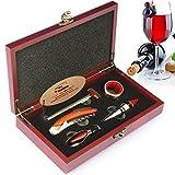 YOBANSA Kit de 5 accesorios para vino con sacacorchos 3en 1, abridor de botellas, tapón para botella de vino, vertedor de vino, aro recogegotas y termómetro, en caja de madera